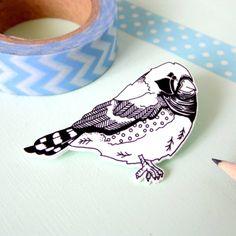 Zebra Finch Illustrated Bird Brooch
