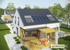 Edgar II G2 ENERGO Good House, Solar Panels, Architecture, Outdoor Decor, Home Decor, Facades, Projects, Sun Panels, Arquitetura