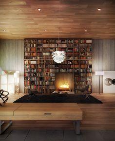 book case above fireplace | via