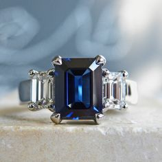 2 carat sapphire & 1 carat total weight diamonds in platinum.  J ALBRECHT DESIGNS