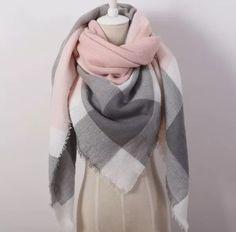 cachecol xale padrão xadrez rosa com cinza e branco