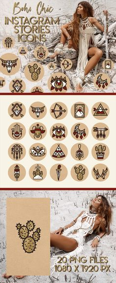 Desert vibes! South west inspired Boho chic Instagram Stories Highlights icons. Trival symbols - arrow, feather, bull skull, moon, cactus, dreamcatcher icons. Kraft paper background and brown, red, white and gold designs. Alisa Belochkina