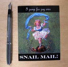 I jump for joy over snail mail postcard, set of 5. $5.00, via Etsy.