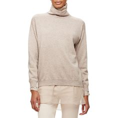 Brunello Cucinelli Cashmere Turtleneck w/Silk Underlay (€1.510) ❤ liked on Polyvore featuring tops, sweaters, bran, pink pullover sweater, long sleeve turtleneck, long sleeve tops, long sleeve pullover and pink turtleneck sweater