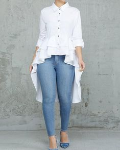 2019 Women Elegant Office Work Solid Turn-down Collar White Shirt Casual Top Layered Flounced Dip Hem Asymmetrical Blouse Womens Fashion For Work, Look Fashion, Winter Fashion, Ladies Fashion, Cheap Fashion, Feminine Fashion, Classy Fashion, Modest Fashion, Spring Fashion