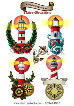 Vector Lighthouse Set Vintage Traditional Tattoo Designs Stickers Collection Flowers, Anchor, Compass, Waves, Ribbons