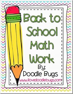 Back to School Math Work (many different skills included)