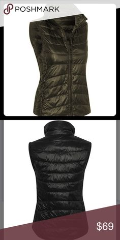 ⭐Black down Puffer Vest This comfy down vest features a funnel collar to lock out the chill and a structured fit to accentuate your feminine shape.  Details: zip closure; outer 100% nylon; filling 90% down/ 10% feather; hand wash Jackets & Coats Vests