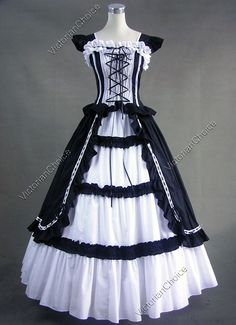 Victorian Gothic Lolita Cotton Dress Ball Gown Reenactment Clothing Stage Costume