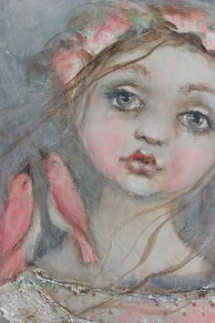 original girl child shabby floral birds pink mixed media textile portrait painting 8X10 karen milstein fadedwest