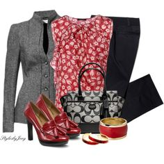"""Coach Red Black and Grey"" by stylesbyjoey on Polyvore"
