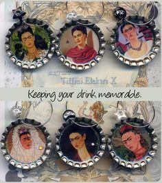 Frida Kahlo wine glass charms