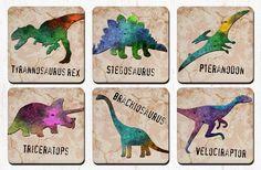 Dinosaur Coasters - Tyrannosaurus Triceratops Brachiosaurus Stegosaurus Velociraptor - Dinosaur Art - Dinosaur Decor - Drink Coasters by RegalosOnline on Etsy https://www.etsy.com/listing/277255522/dinosaur-coasters-tyrannosaurus