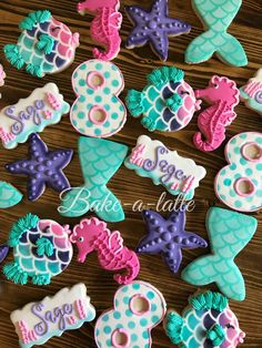 Tuesday, July 2018 (Day Happy Birthday Cookies July: 8 & 9 years old by 🎀 🇺🇸 Mermaid Theme Birthday, Little Mermaid Birthday, Little Mermaid Parties, Girl Birthday, Mermaid Themed Party, Mermaid Party Food, Happy Birthday Cookie, Birthday Cookies, 4th Birthday Parties