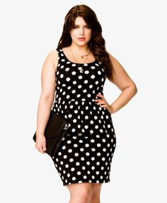 "Polka Dot Peplum Dress | FOREVER21 - 2040151162 in my shopping cart's ""to buy list"" for August 2013."