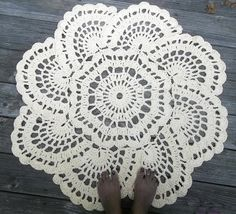 Cream Cotton Crochet Doily Rug in 36 Circle Lacy Shell Pattern READY TO SHIP via Etsy