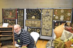 Maggie Bonanomi's booth at Amish Country Wool Artisans Hook-In with Harold, her husband