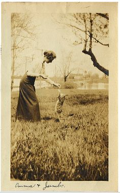 woman and cat | vintage photo