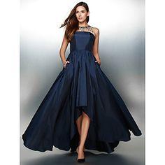 Formell+kveld+Dress+A-linje+Besmykket+Asymmetrisk+Taft+med+Krystalldetaljer+–+NOK+kr.+946