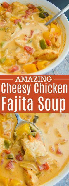 Cheesy Chicken Fajita Soup - Recipes to try this week - - Suppe Rezepte - Fajitas Recipes Chili Recipes, Mexican Food Recipes, Soup Recipes, Chicken Recipes, Cooking Recipes, Healthy Recipes, Kraft Recipes, Casserole Recipes, Fajita Soup Recipe
