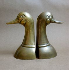 Vintage Brass Duck Mallard Bookends Water Fowl by chriscre on Etsy, $16.00
