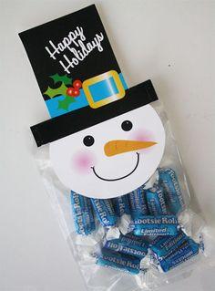 Snowman Treat Bag Toppers.  Downloadable PDF.