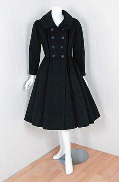 1940's Lilli-Ann Black Wool Velvet Double-Breasted Princess Coat image 2
