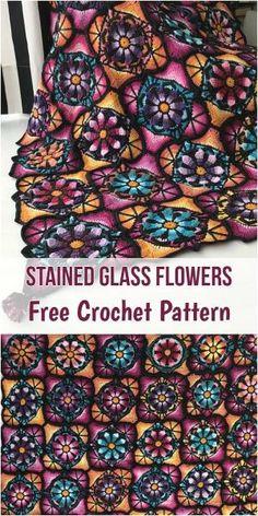 Stained Glass Flowers [Free Crochet Pattern] #crochet #motif #square #freepattern by jeanine
