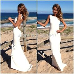 High Neck Backless White Simple and Elegant party dress elegant evening Sexy Floor Length Evening Dresses 2014 Fast Shipping $129.00