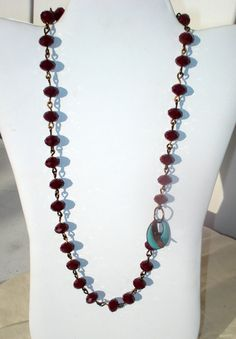 Red Necklace Crystal with Copper Enamel by YMBlueOriginals on Etsy, $30.00