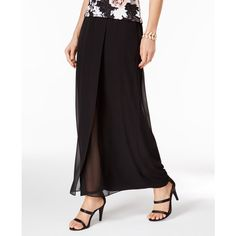 Alex Evenings Chiffon Maxi Skirt ($69) ❤ liked on Polyvore featuring skirts, black, ankle length skirts, floor length skirt, chiffon maxi skirt, party skirts and a-line skirts