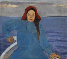 "huariqueje: "" Rowing Girl with a Red Hat - Simberg, Hugo Finnish, oil on cardboard, cm. Women's Rowing, Digital Museum, Post Impressionism, Art Station, Collaborative Art, Red Hats, Klimt, Light Painting, Community Art"