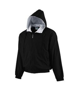 Augusta Sportswear Adult Hooded Fleece Long Sleeve Lined Taffeta Jacket. 3280 Outer shell of 100% nylon taffeta, Body, sleeves and hood lined with 75% polyester/13% rayon/12% cotton grey heather fleece, Center front zipper with inside storm flap, Hood with drawcord and sliders (youth has elastic in hood instead of drawcord), Set-in sleeves, Reinforced slash front pockets with zippers, Elastic cuffs and bottom band, Water-resistant, Machine-washable, Individually polybagged. G0tApparel