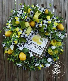 Summer Door Wreaths, Wreaths For Front Door, Spring Wreaths, Mesh Wreaths, Front Porch, Summer Christmas, Christmas Gifts, Lemon Wreath, Gifts For Wife