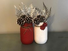 Excited to share this item from my shop: Christmas Mason Jars Set of 2 Christmas Decorations Christmas Wedding Rustic Christmas Centerpeices Holiday Home Decor Christmas Home Christmas Wedding Decorations, Christmas Wreaths, Christmas Ornaments, Diy Christmas Wedding, Etsy Christmas, Apartment Christmas Decorations, Cheap Christmas Crafts, Holiday Wedding Ideas, Red Christmas