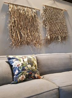 Flax Weaving, Bamboo Weaving, Weaving Art, Boho Diy, Boho Decor, Yarn Wall Hanging, Hanging Plants, Creative Textiles, Modern Wall Decor
