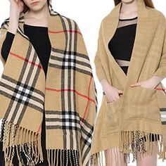 Naimo Womens Dual Use Grid Scarf Tippet Cappa Long Shawl Large Scarf Camel ** Continue to the product at the image link.