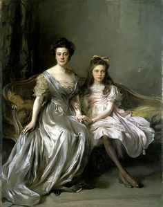 Portrait Of A Lady And Her Daughter 2 by Philip Alexius de Laszlo – Hungarian-born English) Classic Paintings, Old Paintings, Art Pictures, Photos, Classical Art, Woman Painting, Ancient Art, Female Art, Art History