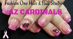 Az Cardinal Nails Pink #azcardinals #coloredacrylic #handpaint #nailsbytammy #football #pink #breastcancer