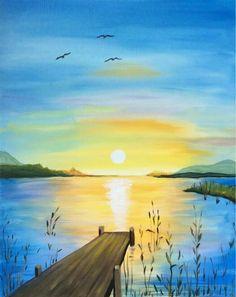 Atardecer Acrylic Painting Techniques, Art Techniques, Art Anime, Summer Painting, Diy Canvas Art, Beginner Painting, Seascape Paintings, Encaustic Art, Watercolour Painting