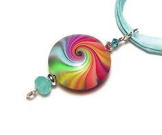 Handmade Polymer Clay Pendant Necklace Art Jewelry Rainbow Focal Bead Blue Topaz Swarovski Aqua Necklace Adjustable