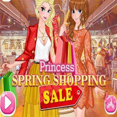 Princess Spring Shopping Sale: As lojas de roupas do shopping estão com a nova coleção. Elsa e Anna não podem esperar para chegar lá e divertir-se durante as compras da primavera. Caminhe de loja para loja e escolha roupas bonitas, sapatos da moda, joias brilhantes e acessórios elegantes.