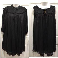 Black Chiffon Pajama Set Nightgown with Robe Sheer Lace embroidered Negligee From Dot weir by GenesisVintageShop on Etsy