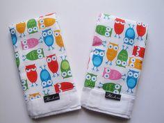 Owl baby burp cloths by Ahmelie