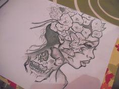 #drawing #girls #flowers #skull #bird