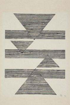 "vjeranski: ""Lygia Pape Sem título: Tecelar (Untitled: Weaving) 1956 Woodcut on Japanese paper 35 x cm "" Textures Patterns, Print Patterns, Eduardo E Monica, Painting & Drawing, Women Artist, Quilt Modernen, Design Art, Graphic Design, Geometric Art"