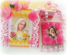 add crocheted edges to holy cards. trim to hang on tree.