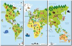 """☼ Wandbild """"Kinderwelt"""" ☼ Eine märchenhafte Weltkarte für kleine Weltbummler! Schön und praktisch  ☼ Pinnwand, Triptychon, für Kinder, Kinderzimmer, Tiere ☼"""