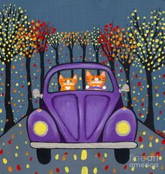 Autumn Drive Painting  - Autumn Drive Fine Art Print