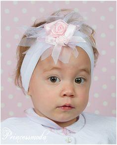 (EM-42) Wie eine Sonne in Rosa! IHR Stirnband! - Princessmoda - Alles für Taufe Kommunion und festliche Anlässe